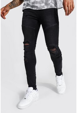 Washed black Super Skinny Busted Knee Biker Jean