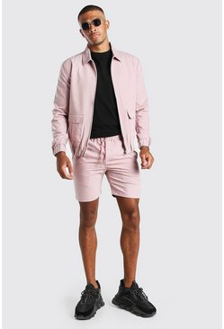 Light pink pink Skinny Smart Coach Jacket & Short Set
