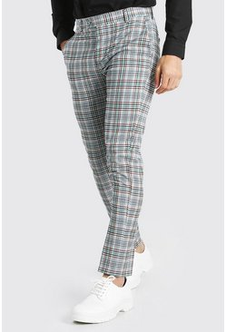Orange Skinny Smart Check Trousers