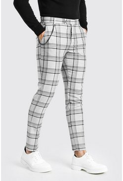 Grey Skinny Smart Check Trousers With Chain
