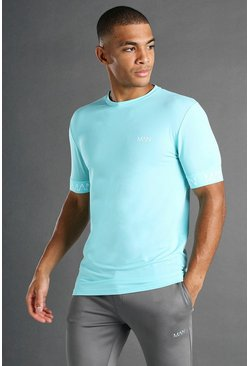 MAN Active Muscle Fit T-Shirt mit Bündchendetail, Blassblau blau