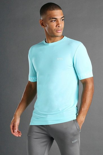 Pale blue MAN Active Muscle Fit T-Shirt With Cuff Detail