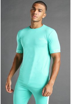 Green MAN Active Muscle Fit T-Shirt With Cuff Detail