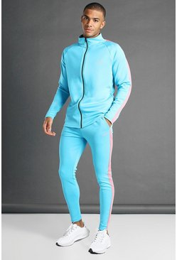 Blue Man Active Skinny Fit Zip Through Tracksuit