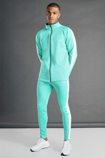 Green MAN Active Skinny Fit Zip Through Tracksuit