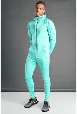 Teal green MAN Active Hooded Zip Through Tracksuit