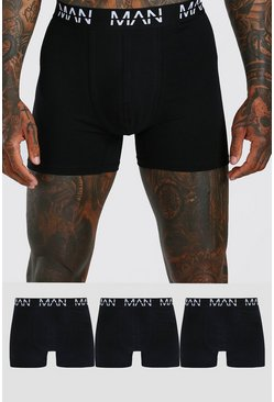 Black 3 Pack MAN Dash Mid Length Trunks