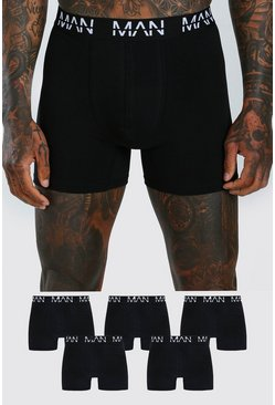 Black 5 Pack MAN Dash Mid Length Trunks