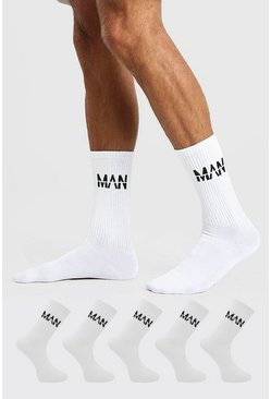 White 5 Pack MAN Dash Sports Socks