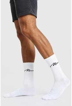 White 3 Pack MAN Script Sports Socks