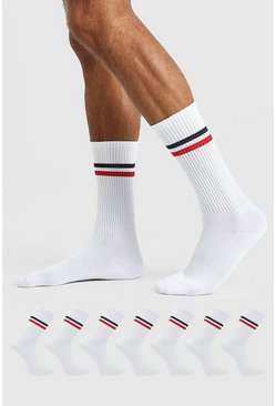 White 7  Pack Striped Sports Socks