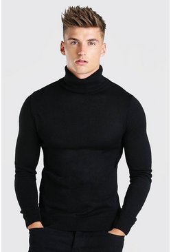 Black Regular Fit Roll Neck Jumper