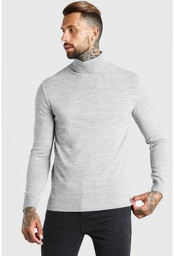 Grey marl Regular Fit Roll Neck Jumper