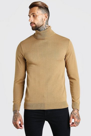 Camel beige Regular Fit Roll Neck Jumper