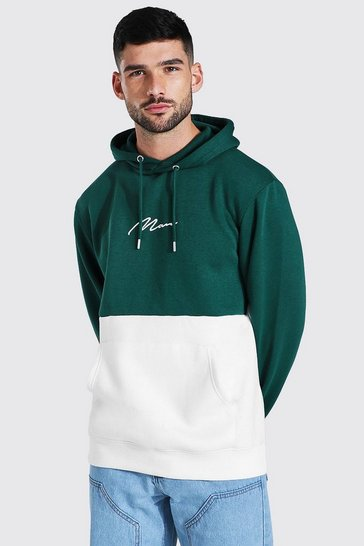 Forest green Man Signature Colour Block Hoodie