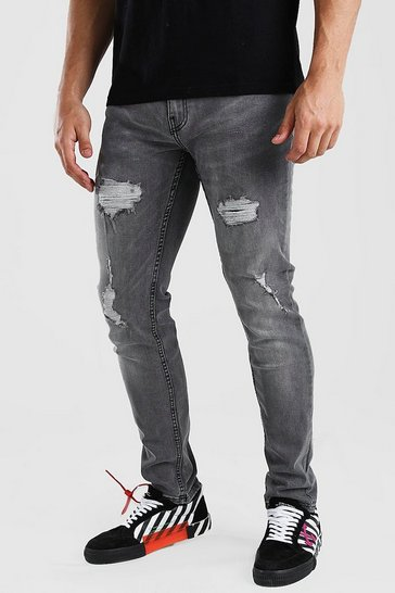 Light grey grey Skinny Fit Jean With Rips