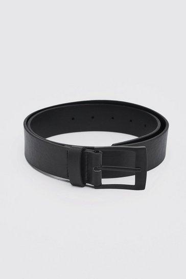 Matte Black Rectangle Buckle Leather Look Belt