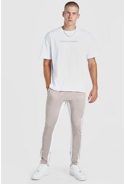Stone beige Oversized MAN Official T-Shirt & Tricot Jogger Set