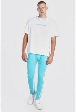 Turquoise blue Oversized MAN T-Shirt & Tricot Jogger Set