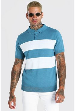 Teal green Short Sleeve Striped Knitted Polo