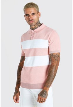 Dusky pink pink Short Sleeve Striped Knitted Polo