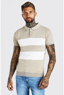 Stone beige Short Sleeve Striped Knitted Polo