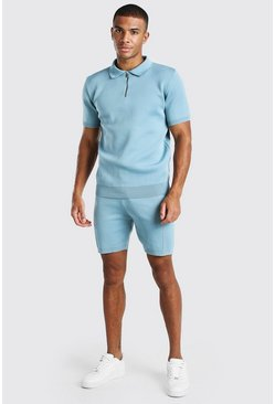 Dusty blue blue Short Sleeve Half Zip Knitted Polo & Short Set