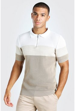 Oatmeal beige Colour Blocked Muscle Fit Knitted Polo