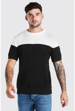 Black Contrast Muscle Fit Knitted T-Shirt