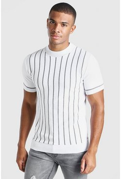 White Turtle Neck Striped Knitted T-Shirt
