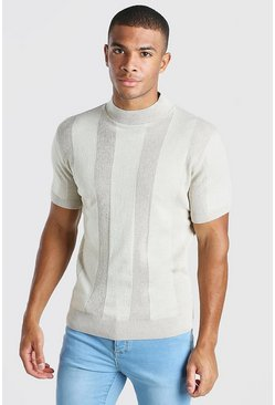 Stone Turtle Neck Ribbed Knitted T-Shirt