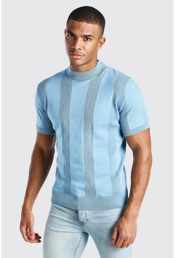 Dusty blue blue Turtle Neck Ribbed Knitted T-Shirt