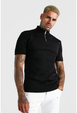 Black Half Zip Ribbed Turtle Neck Knitted T-Shirt