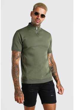 Sage green Half Zip Ribbed Turtle Neck Knitted T-Shirt