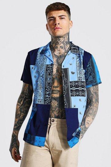 Blue Short Sleeve Bandana Print Shirt