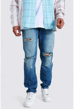 Vintage blue blue Straight Leg Busted Knee Distressed Jean