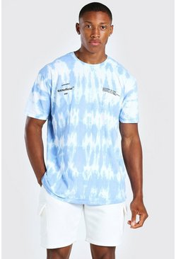 Powder blue blue Oversized Official MAN Tie Dye T-Shirt