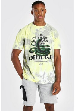 Lime green Oversized Snake Print Tie Dye T-Shirt