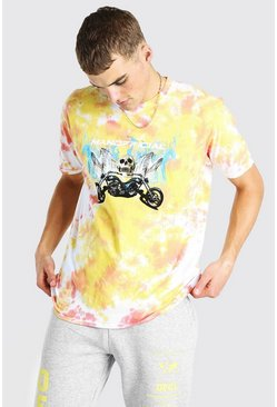 Peach Oversized MAN Official Skull Tie Dye T-Shirt