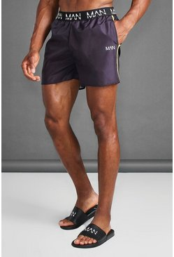 Black MAN Active Swim Shorts With Waistband Detail