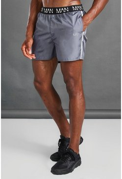 Charcoal MAN Active Swim Shorts With Waistband Detail