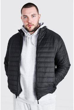 Black Plus Size MAN Foldaway Jacket With Bag