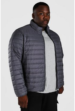 Dark grey grey Plus Size MAN Foldaway Jacket With Bag
