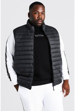 Black Plus Size Man Donzen Bodywarmer Met Tas