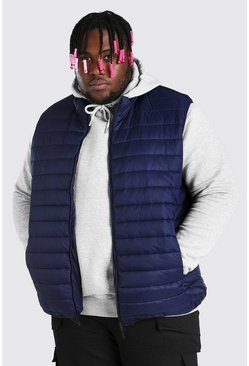 Navy Plus Size MAN Foldaway Gilet With Bag