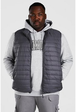 Dark grey grå Plus Size MAN Foldaway Gilet With Bag