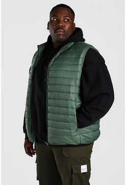Olive grön Plus Size MAN Foldaway Gilet With Bag