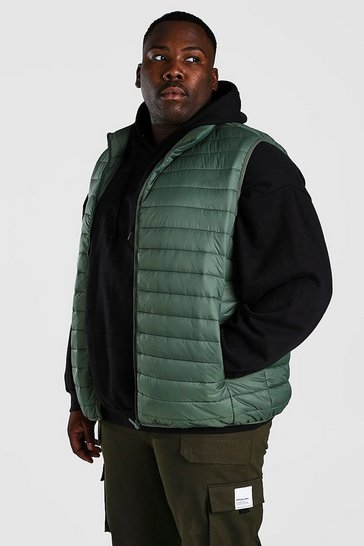 Olive green Plus Size MAN Foldaway Gilet With Bag