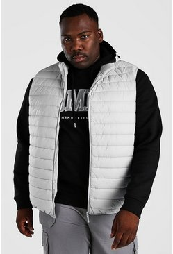 Light grey grå Plus Size MAN Foldaway Gilet With Bag