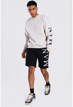 Man Roman Contrast Short Tracksuit, Stone beis